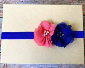 Coral and Royal Blue Headband/Coral Headband/Royal Blue Headband/Baby Headband/Baby Girl Headband/Infant Headband/Newborn Headband/Headbands