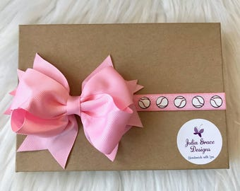 Large Bow Baseball Headband, Baby Headband, Newborn Headband, Infant Headband, Baseball Bow, Baseball Baby Headband, Toddler Headband