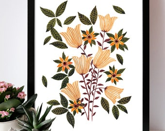 Illustration print Yellow tulips