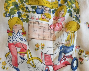 Vintage Lap Quilt With Fabric that Has Boys and Girls Playing On It