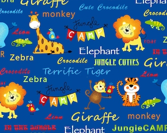 Jungle Animals and Words on Royal Blue from the Jungle Camp Collection by Swizzle Stick Studios, Lions, Tigers, Monkeys, Giraffes