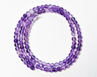 Natural Amethyst Round 4mm Loose Beads, February Birthstone, Natural Amethyst Beads, Semi precious Gemstone Beads, Wholesale Beads
