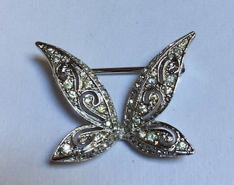 Panetta Butterfly Pin - Silver tone and Rhinestones