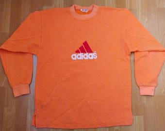 ADIDAS sweatshirt, orange vintage hip hop shirt of 90s hip-hop clothing, 1990s gangsta rap lowrider, run dmc size L Large (D7) West Germany