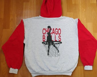 Chicago Bulls hoodie, Michael Jordan, NBA licensed sweatshirt, vintage basketball jersey 90s hip-hop, 1990s hip hop clothing M Medium