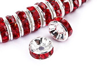 Light Siam(Red) Rhinestone Rondelle Spacer 50pcs Per Bag Size 4mm/6mm/8mm/10mm.Sale by Bag For Jewelry Making