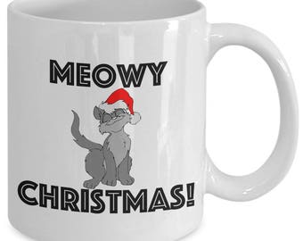 MEOWY CHRISTMAS! - Holiday Cat Mug - Funny Cat Lover Gift - Cat Mom - Cat Dad - 11 oz white coffee tea cup