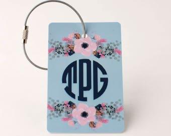 Monogram Luggage Tag - FREE SHIPPING, Floral Luggage Tag, Custom Luggage Tag, Personalized Luggage Tag, Bag Tag, Luggage Tag, Bride Gift,