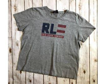 Vintage Ralph Lauren Polo Jeans Co. T-Shirt, 90s Ralph Lauren T-Shirt, Ralph Lauren Polo Jeans Gray Red Blue Graphic T-Shirt, Adult Medium