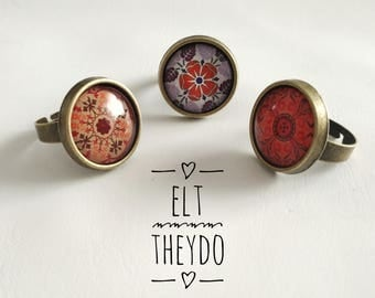 Mandala rings, Adjustable rings cabochon photoglass cabochon