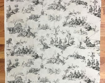 Lovely Vintage 1930's French Cotton Scenic Toile Fabric (2155)