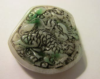 Carved Chinese White-Green Jade Pendant of Kylin and Flying Crane, 2""