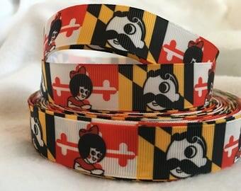 Maryland Utz Natty Boh Ribbon, Maryland Flag Ribbon, Grosgrain Ribbon, Cute Ribbon, Hairbows, Scrapbooking Embellishment, MD, Maryland, UTZ