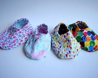 Reversable baby shoes newborn -2 years crib shoes booties pram shoes pink bright