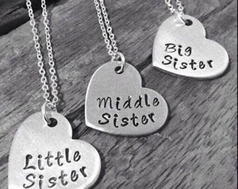 Silver 3 Sisters Necklaces - Big, Middle and Little Sister, Ideal present to give 3 Sisters..