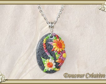 Multicolor stone 103035 gray Flower necklace