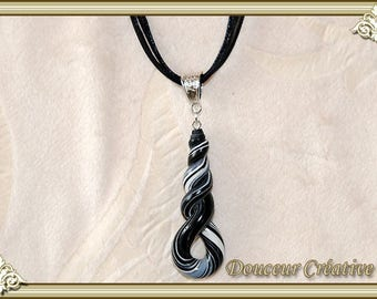 Necklace black gray white 103037