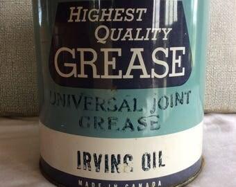 Vintage FULL Irving Oil car repair 5 lbs unused grease can garage advertising industrial decor