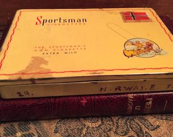 Vintage tin cigarette box Sportman made in Canada