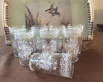Mid century 8 juice water tumblers set white applied floral pattern