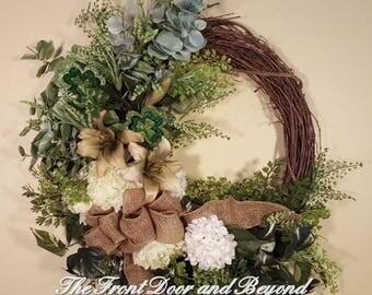St Patricks Wreath, Shamrock Wreath, Saint Patrick Wreath, Front Door Wreath for St Patrick's Day, St Patrick's Grapevine Floral Wreath