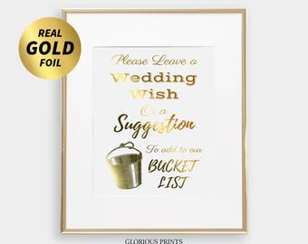 Bucket List Wedding, Bucket List Sign, Bucket List Journal, Wedding Wishes Journal, Gold Foil Wedding Signs, Wedding Reception Decorations