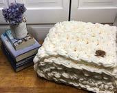 "Vanilla Cream Chunky Hand Knit Blanket 50"" X 28"" Child Toddler Baby Christmas Gift"