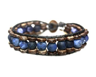 Bracelet Blue Jeans B8 – Mat sodalite, coconut and leather 200