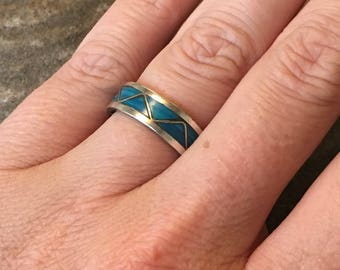 Vintage Sterling Turquoise Gradient Triangles Inlay Ring Band Size 7