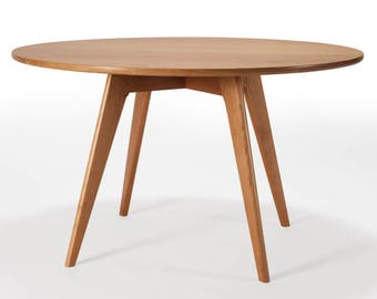 round dining table mid century modern kitchen table solid cherry wood circular pedestal - Round Dining Table Solid Wood