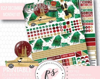 Christmas in NYC December Monthly View Kit Printable Planner Stickers (for use with Erin Condren Lifeplanner) | JPG/PDF/Silhouette Cut File