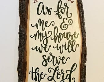 As for me and my house, wood sign, entry way decor, hand painted, Joshua 24:15