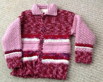 Handknitted chunky cardigan for 2-4 yet olds