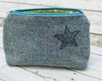 Hand Crafted Harris Tweed pencil case, cosmetic bag purse