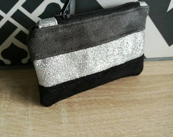 wallet fabric and suede with silver glitter