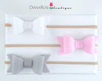 Felt Bow Headband Set Baby Headband Bow Baby Headbands Set Baby Bow Set Nylon Elastic Pink White Nude White Fall Christmas Headband