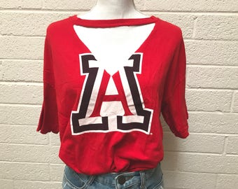 Vintage Cut Out Deep V Block A University of Arizona Graphic Tee - Cut Out Distressed  Wildcats Tucson Arizona TShirt - Large