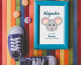 Artwork Custom for Boy to Baby Shower, Little Mouse, Baby Gift, Newborn, Downloadable to Room Boys Decoration, Nursery, Boys