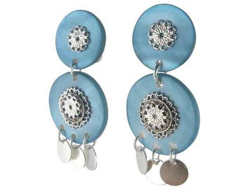 Earring clip turquoise Milan (made in France)