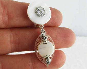 Earrings clip white Luna (made in France)