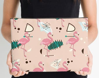 Pink Flamingo Nappy Pouch, Nappy Pouch, Nappy Wallet, Diaper Case, Toiletry Bag, Nappy Clutch, Baby Change Wallet, Nappy Bag,