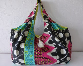 Large tote bag, fabric, summer, beach, shopping, weekend, multicolor, ethnic