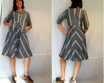Handmade cotton dress with pockets midi dress with belt grey striped dress front buttons short sleeved dress stripes size Medium 1980s