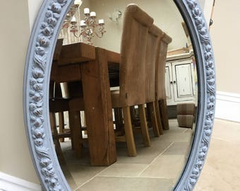 Beautiful Vintage Wooden Oval Bevelled Mirror