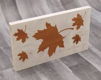 Autumn Blessings Sign | Fall Decor | Fall Leaves Decoration | Wall Hanging | Fall Leaf Sign | Wood Sign | White Fall Decor | Small Wall Art