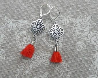 """Stylized """"Red lace"""" earrings"""