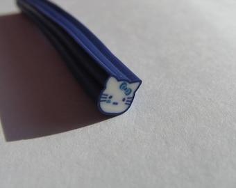 set of 12 blue kitten fimo cane slices