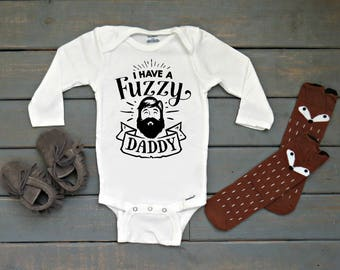 Fuzzy Daddy Onesie®, Beard Shirt, Funny Kids' Clothing, Baby Shower Gift, Father's Day Gift, Hipster Baby Onesie®