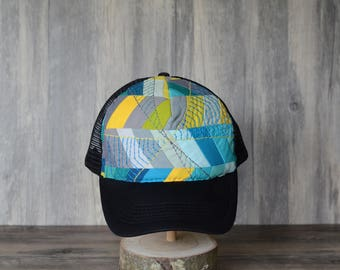Quilted Embroidered Hexagon Hat