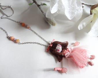 Necklace articulated doll cloth dress tulle salmon orange